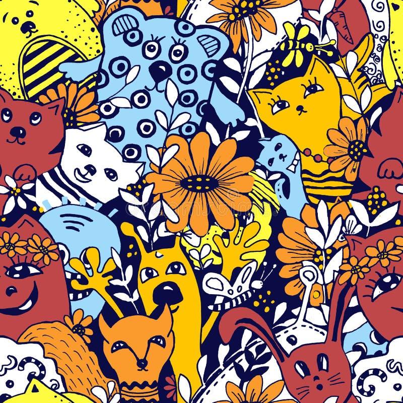Nahtloses Muster Zeichentrickfilm-Figuren im Stil des kawaii mit dem Bild von Tieren, von V?geln und von Blumen Entwurfshintergrü vektor abbildung