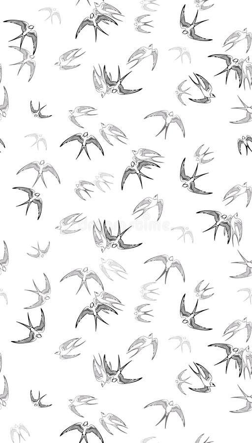 Nahtloses Muster Zeilendarstellung Swalow-Vektors lizenzfreie abbildung