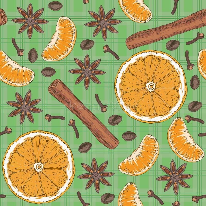 Nahtloses Muster Zitrusfrucht, Gewürze und Kaffeebohnen lizenzfreie abbildung