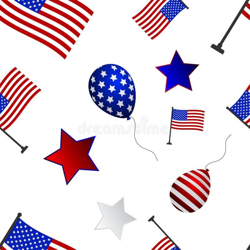 Nahtloses Muster zum Tag von Unabhängigkeit der USA vektor abbildung