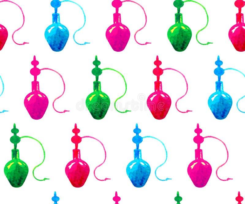 Nahtloses Musteraquarell silhouettieren die blauen, grünen, rosaroten Huka auf einem weißen Hintergrund stock abbildung