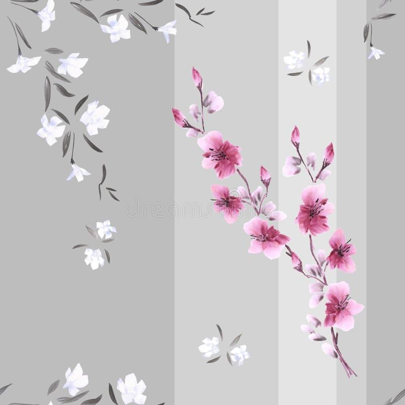 Nahtloses Musteraquarell von weißen und rosa Blumen auf einem grauen Hintergrund mit vertikalen Streifen lizenzfreie abbildung