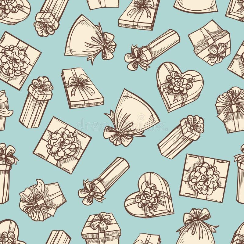 Nahtloses Musterdesign der Weinlesegeschenkboxen stock abbildung