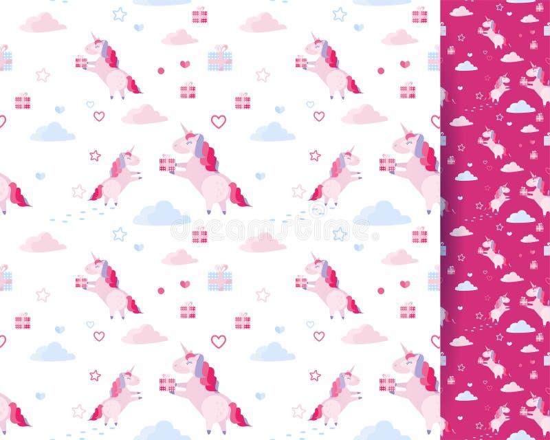 Nahtloses Mustereinhorn des netten Vektors, Wolken, Herzen, Geschenkboxen auf weißem Hintergrund Feiertagsschablone für St.-Valen lizenzfreie abbildung
