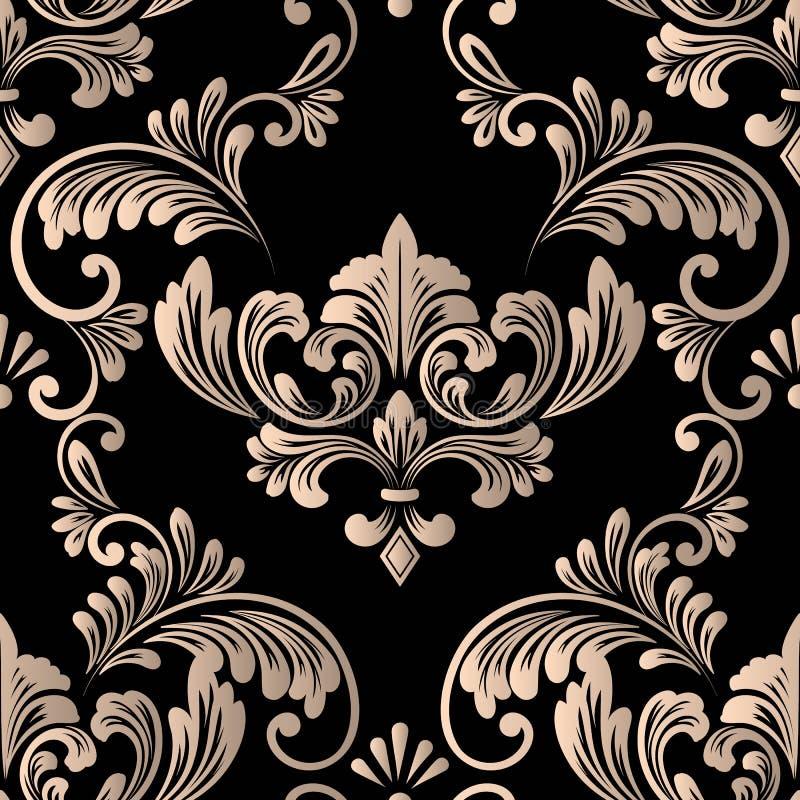 Nahtloses Musterelement des Vektordamastes Klassische altmodische Damastluxusverzierung, nahtlose Beschaffenheit des königlichen  stock abbildung