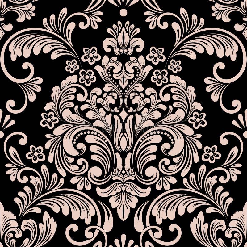 Nahtloses Musterelement des Vektordamastes Klassische altmodische Damastluxusverzierung, nahtlose Beschaffenheit des königlichen  lizenzfreie abbildung