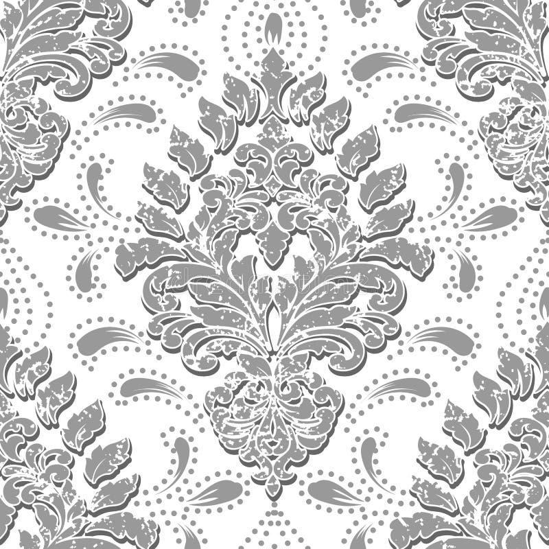 Nahtloses Musterelement des Vektorschmutzdamastes Klassische altmodische Damastluxusverzierung, königlicher Victorian nahtlos lizenzfreie abbildung