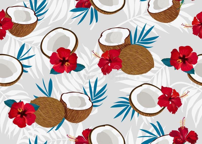Nahtloses Musterganzes und -stück der Kokosnussfrüchte mit blauen Blättern auf grauem Hintergrund Blaues Meer, Himmel u lizenzfreie abbildung