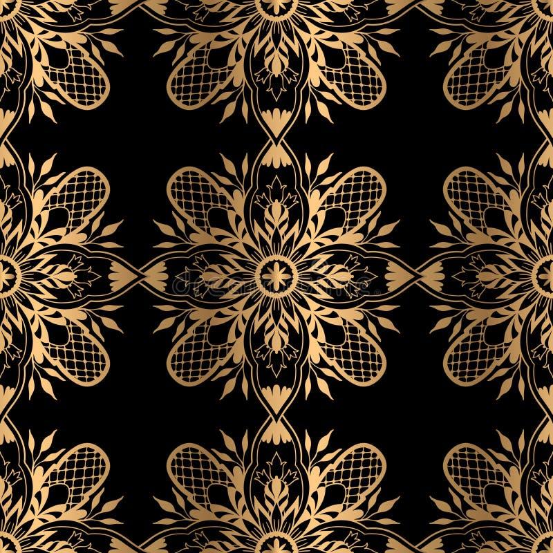 Nahtloses Mustergoldmosaik orientalisch im schwarzen Hintergrund Traditionelle antike Verzierung Marokko und Araber Geometrie Ori stock abbildung