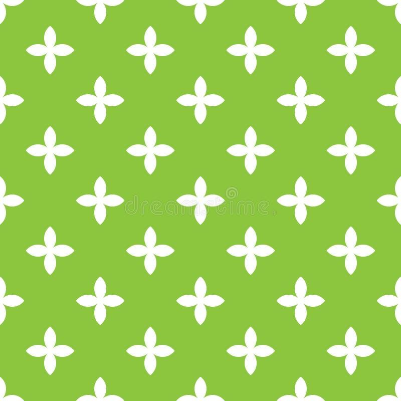 Nahtloses Mustermosaik des abstrakten Vektors der Blattblüte des Weiß vier in der diagonalen Anordnung auf grünem Hintergrund ein stock abbildung