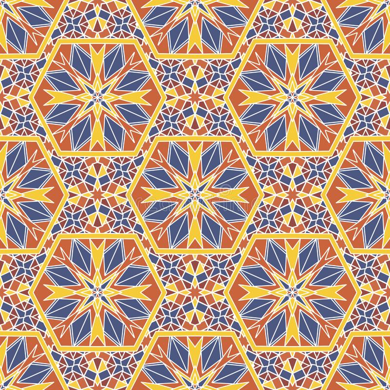 Nahtloses Mustermosaik Orientale Traditionelle antike Verzierung Marokko und Araber Orientalische ethnische Fliese der Geometrie stock abbildung