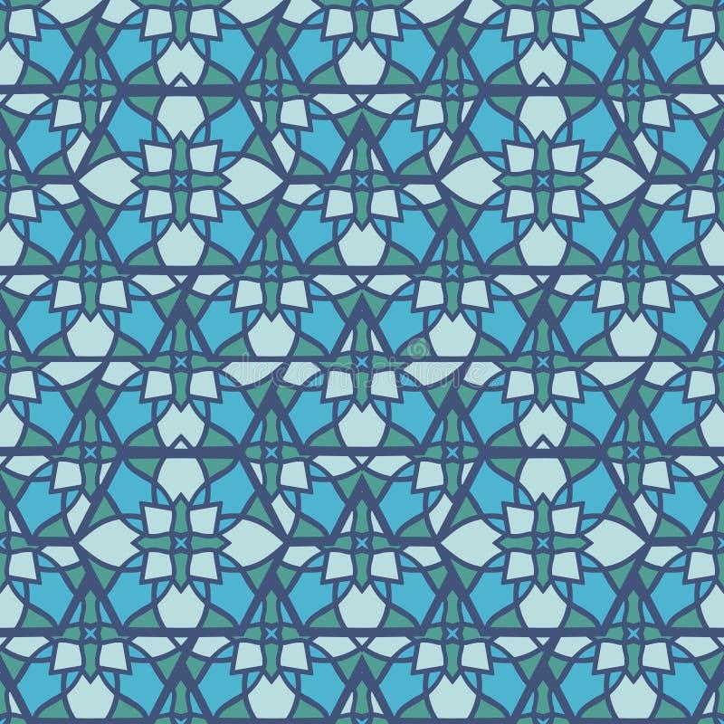 Nahtloses Mustermosaik Orientale Traditionelle antike Verzierung Marokko und Araber Orientalische ethnische Fliese der Geometrie lizenzfreie abbildung