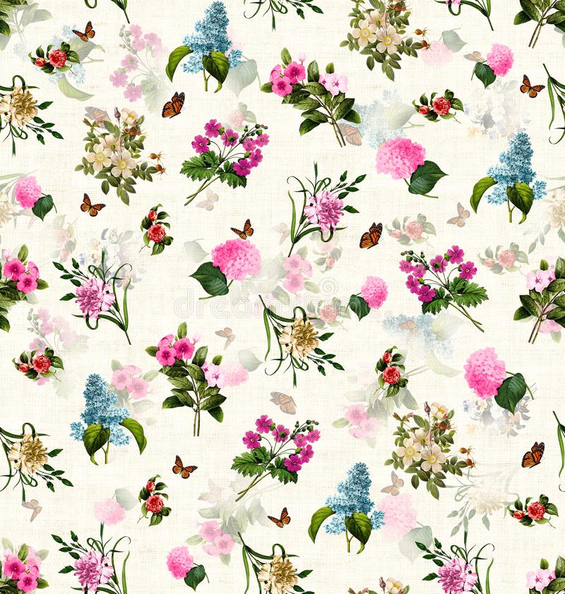 Nahtloses Musterofâfarbige Blumensaisonweinlese stock abbildung