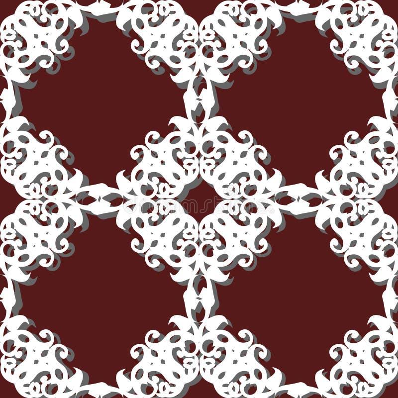 Nahtloses Musterpatchwork von weißen Platten, Verzierungen stock abbildung