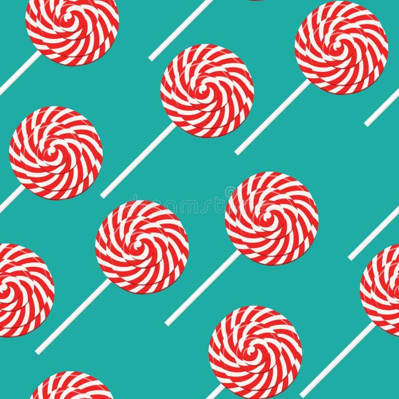 Nahtloses Musterplakat des roten und weißen Strudellutschers, flache Art Vektorillustration für alles Gute zum Geburtstag, neues  stock abbildung