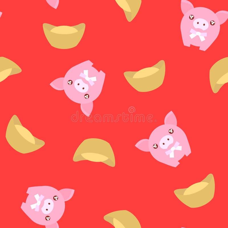 Nahtloses Musterrosaschwein mit chinesischem Goldwürfel auf rotem Hintergrund für chinesisches neues Jahr feiern Hintergrund Vekt vektor abbildung