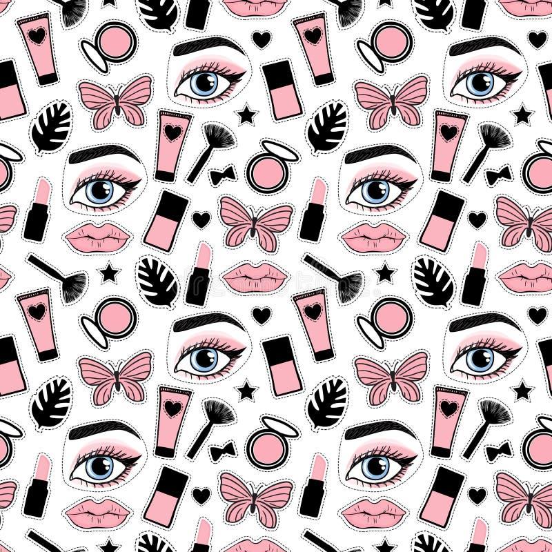Nahtloses Musterschönheitsmake-up für nette Mädchen Abstrakte kosmetische Flaschen übergeben Zeichnung Vektorillustration auf ein vektor abbildung