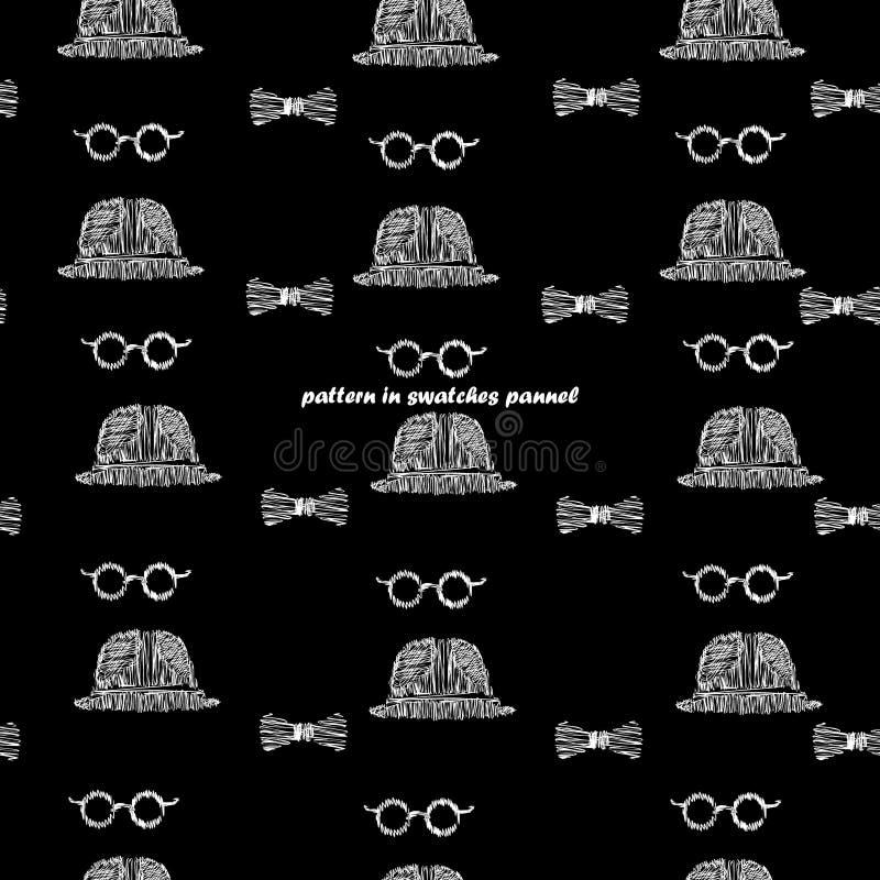 Nahtloses Musterschwarz-Hintergrundweiß, Gläser, Hüte, Fliegengekritzel stockfotos