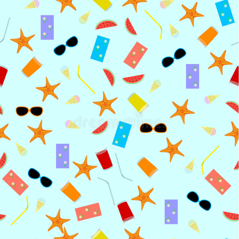 Nahtloses Mustersommerthema mit Getränken, Lebensmittel, Starfish, Tuch, Sonnenbrille und Wassermelone stock abbildung