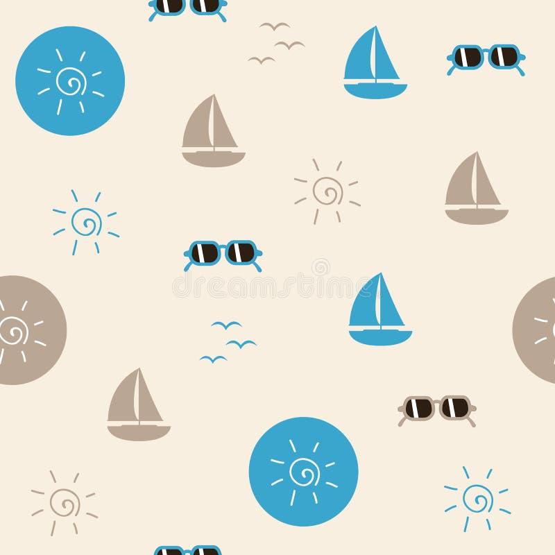 Nahtloses Musterstrandleben-Segelbootssonnenbrille- und -sonnensymbol vektor abbildung