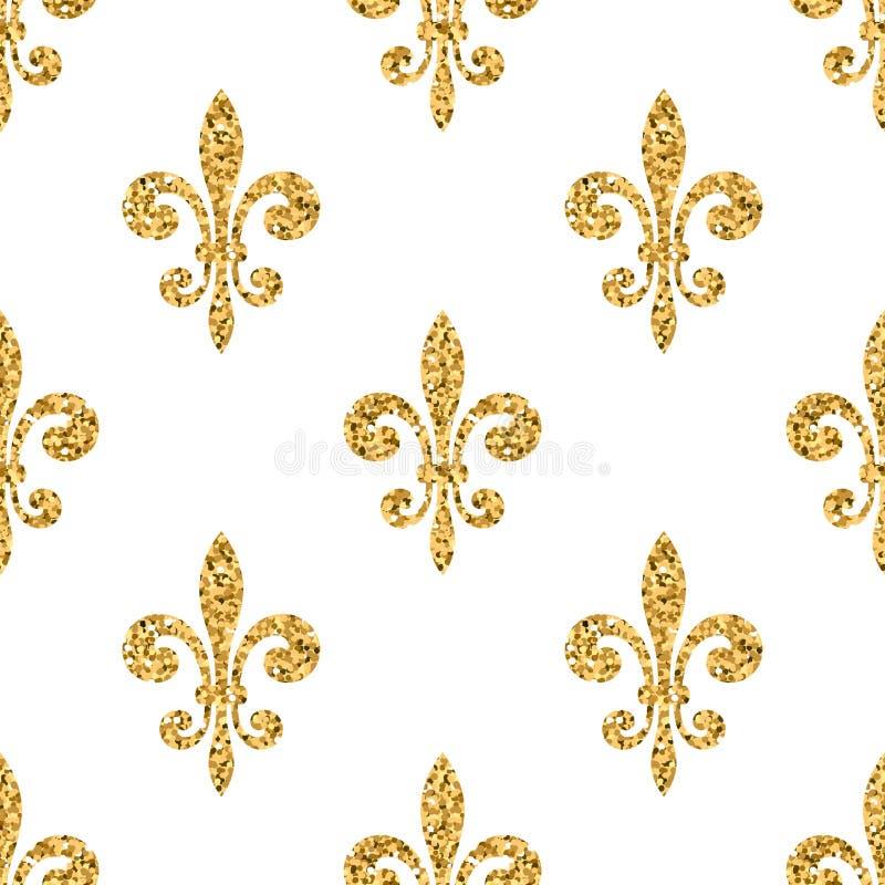 Nahtloses Musterweiß der goldenen Lilie vektor abbildung