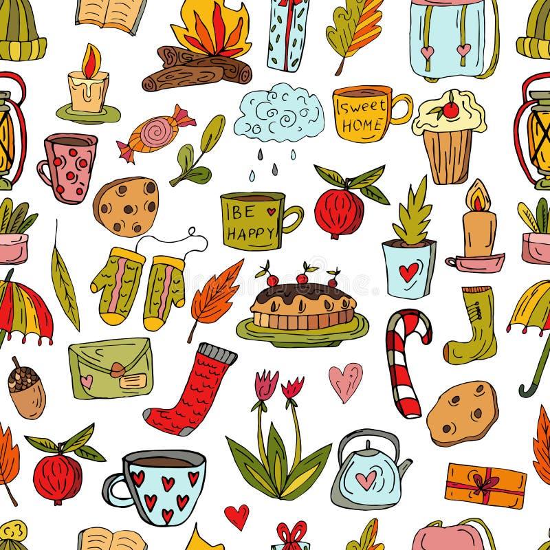 Nahtloses nettes Muster in der skandinavischen Art Kirschtorte, Strickmütze, Schale mit silbernen Eiern, Teekanne, Blumen und ein vektor abbildung
