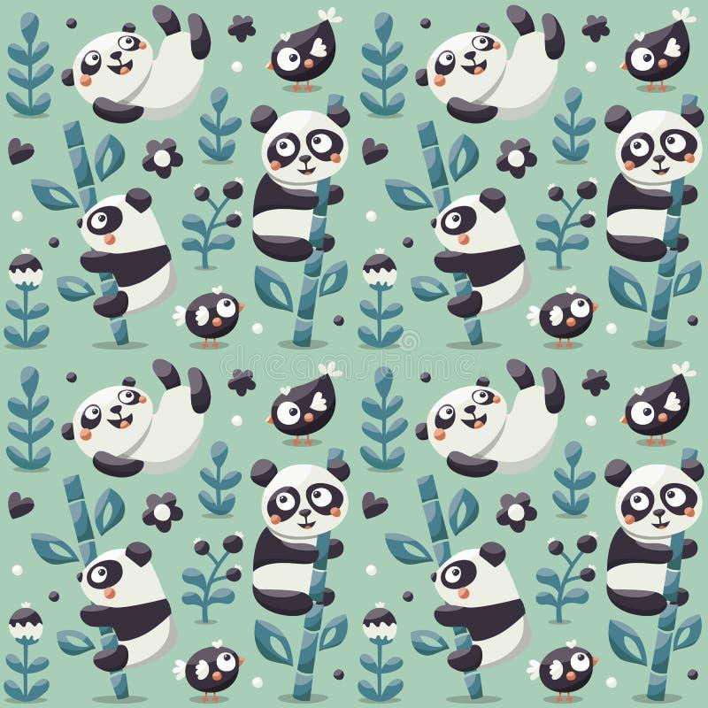 Nahtloses nettes Muster mit Panda und Bambus, Anlagen, Dschungel, Vogel, Beere, Blumen lizenzfreie abbildung