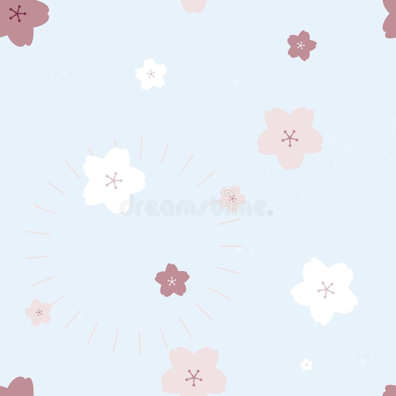 nahtloses nettes reizendes Rosa- und weißeskirschblüten-Kirschblüte-Pfirsichpflaumenblumen-Wiederholungsmuster im hellen blauen H lizenzfreie abbildung