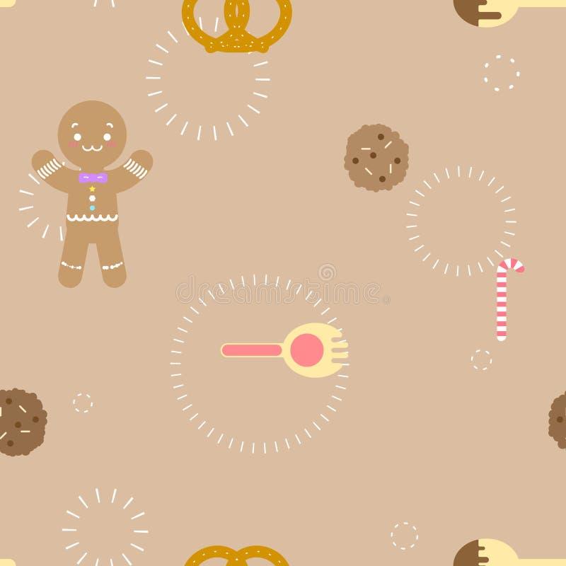 Nahtloses nettes Süßspeiseimbissplätzchenlöffel- und Gabellebkuchenwiederholungsmuster in der flachen Vektorillustration des brau lizenzfreie abbildung