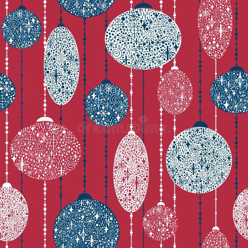 Nahtloses neues Jahr ` s Muster mit Bällen von den Schneeflocken auf Girlande lizenzfreie abbildung