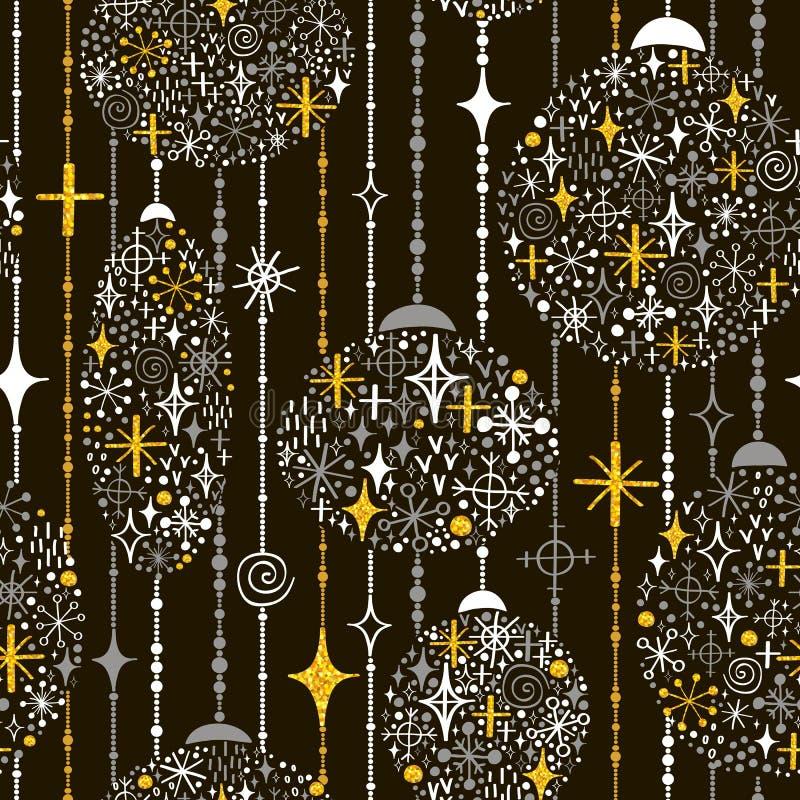 Nahtloses neues Jahr ` s Muster mit Bällen von Schneeflocken, Perlen und lizenzfreie abbildung