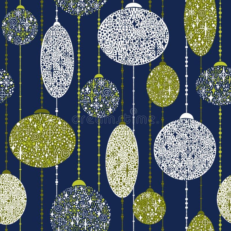 Nahtloses neues Jahr ` s Muster von den Bällen auf Girlanden vektor abbildung