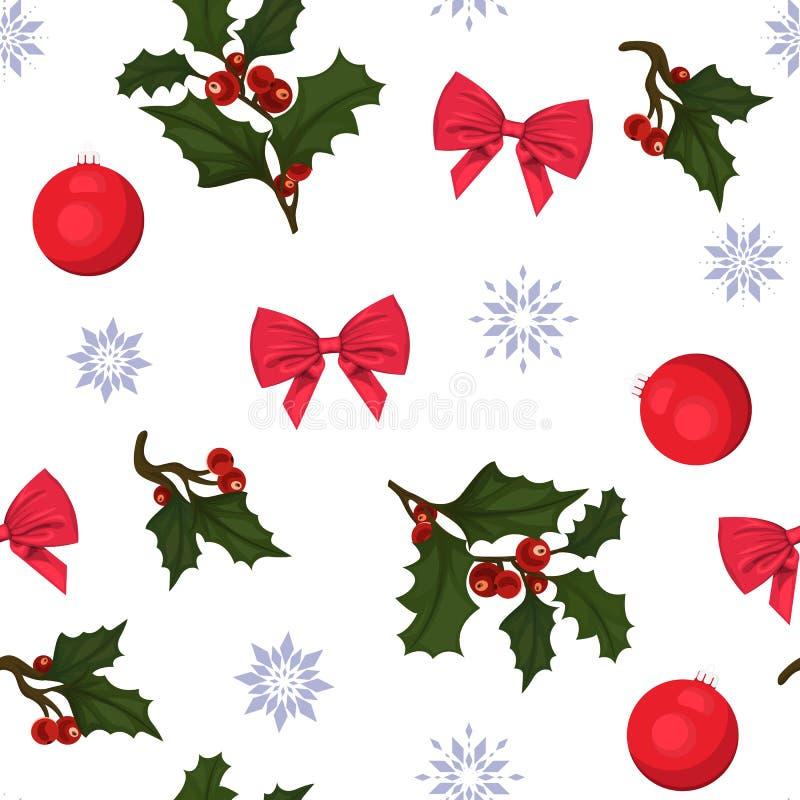 Nahtloses neues Jahr und Weihnachtsmuster Muster mit Stechpalme, Bögen, Weihnachtsbällen und Schneeflocken lizenzfreie abbildung