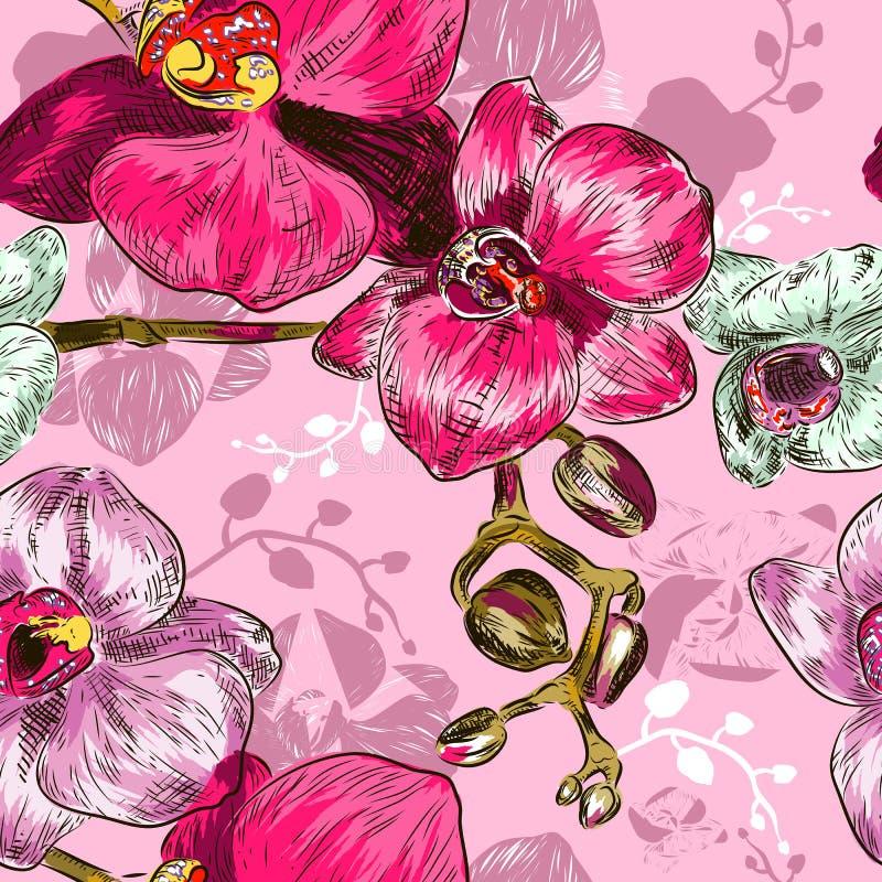 Nahtloses Orchidee Muster vektor abbildung