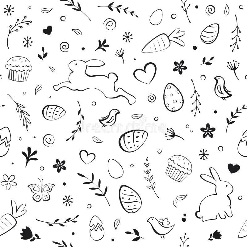 Nahtloses Ostern-Muster mit Eiern, Häschen, Blumen, Vögeln, Kuchen, Herzen, Schmetterlingen und Karotten auf weißem Hintergrund stock abbildung