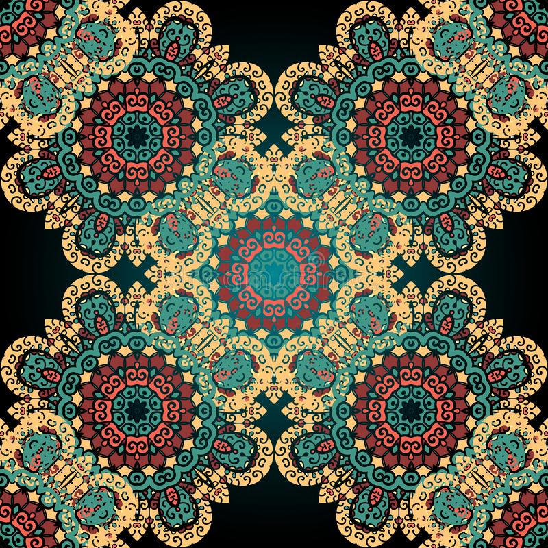Nahtloses Paisley Abstraktes Muster der Mandala Mit Ziegeln gedeckter Vektor E stock abbildung