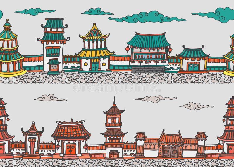Nahtloses Panorama zwei Vektor der chinesischen oder japanischen alten Stadt von stockbilder