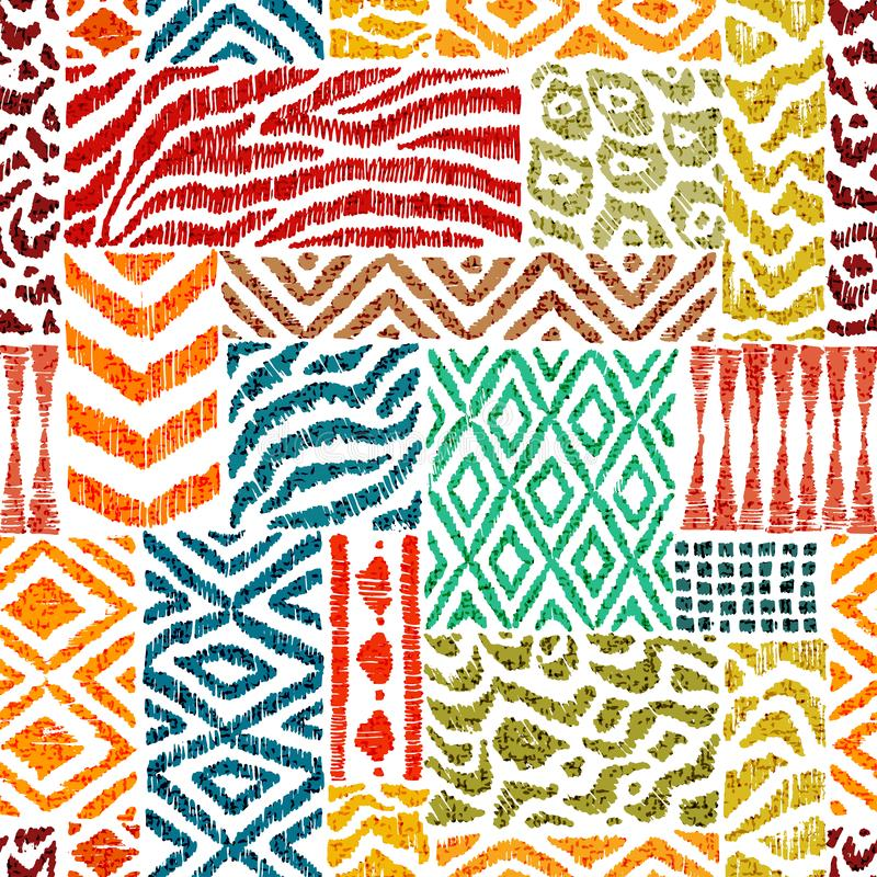 Nahtloses Patchworkmuster Eine Sammlung von Hand gezeichnete Beschaffenheiten Tierdruck für Gewebe Ethnische und Stammes- Motive  stock abbildung