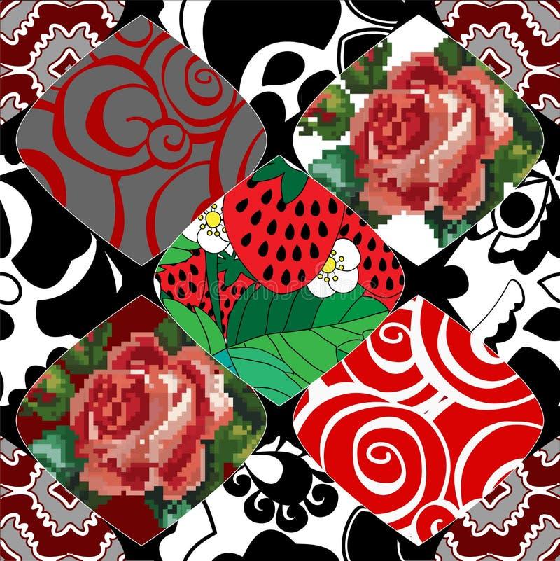 Nahtloses Patchworkmuster mit Blumen lizenzfreie abbildung
