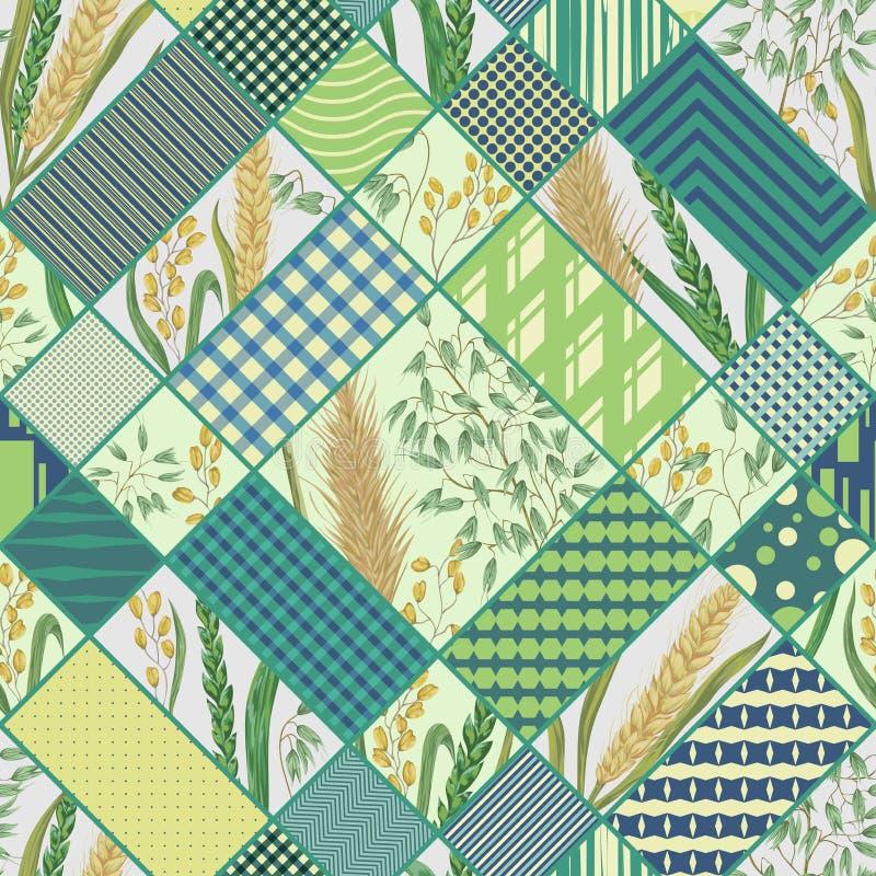 Nahtloses Patchworkmuster mit Getreide und geometrischer Verzierung Gerste, Weizen, Roggen, Reis und Hafer Rustikaler Blumenhinte lizenzfreie abbildung