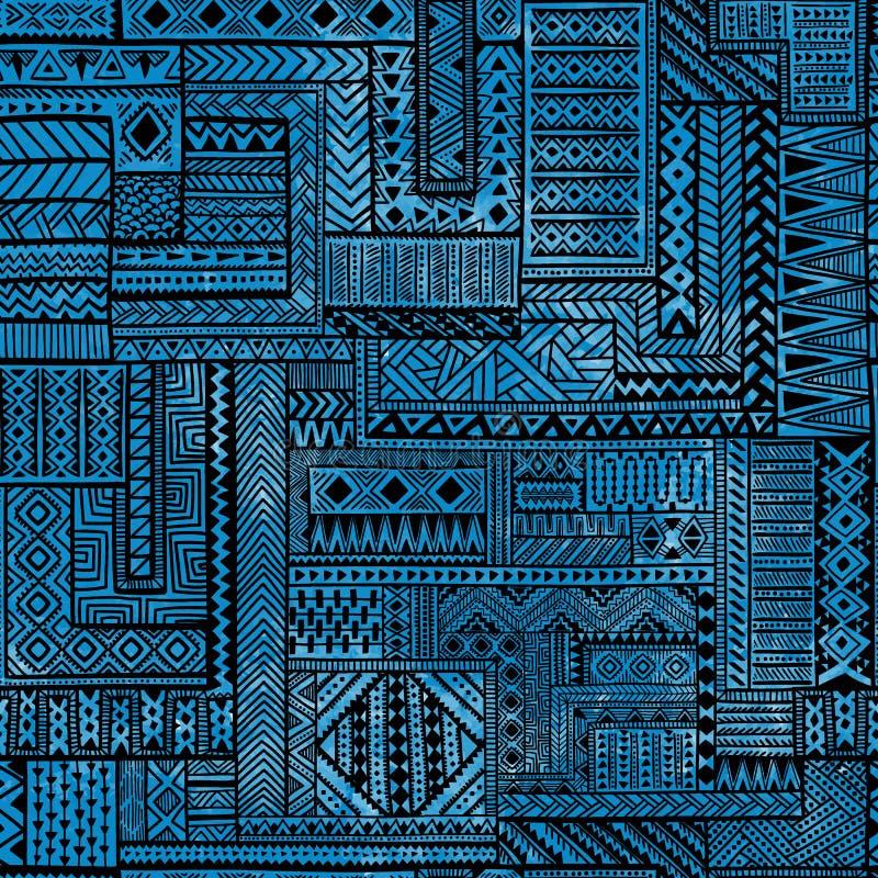 Nahtloses Patchworkmuster Schwarze geometrische Linien auf blauem waterc stock abbildung