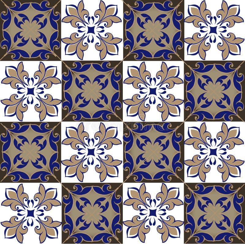 Nahtloses Patchworkmuster von den marokkanischen, portugiesischen Fliesen in den blauen und braunen Farben Dekorative Verzierung  stock abbildung