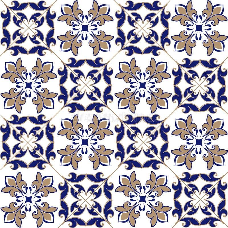 Nahtloses Patchworkmuster von den marokkanischen, portugiesischen Fliesen in den blauen und braunen Farben Dekorative Verzierung  vektor abbildung