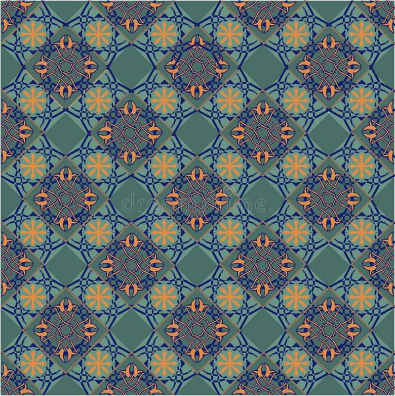 Nahtloses Patchworkmuster von den marokkanischen, portugiesischen Fliesen gelb und von der grünen Farbe Dekorativer Verzierungshi vektor abbildung