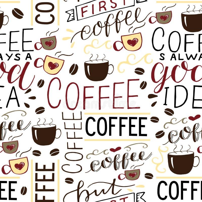 Nahtloses patern mit Aufschrift über Kaffee machte Handbeschriftung mit Bohnen und Schalen lizenzfreie abbildung