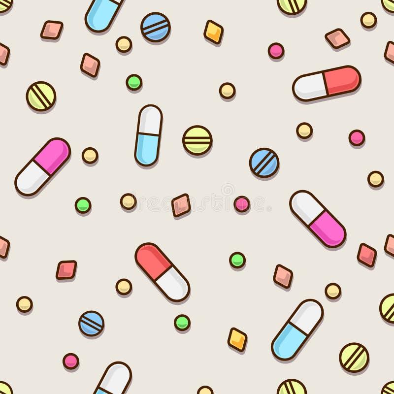 Nahtloses Pillenmuster MEDIZINISCHES Konzept stock abbildung