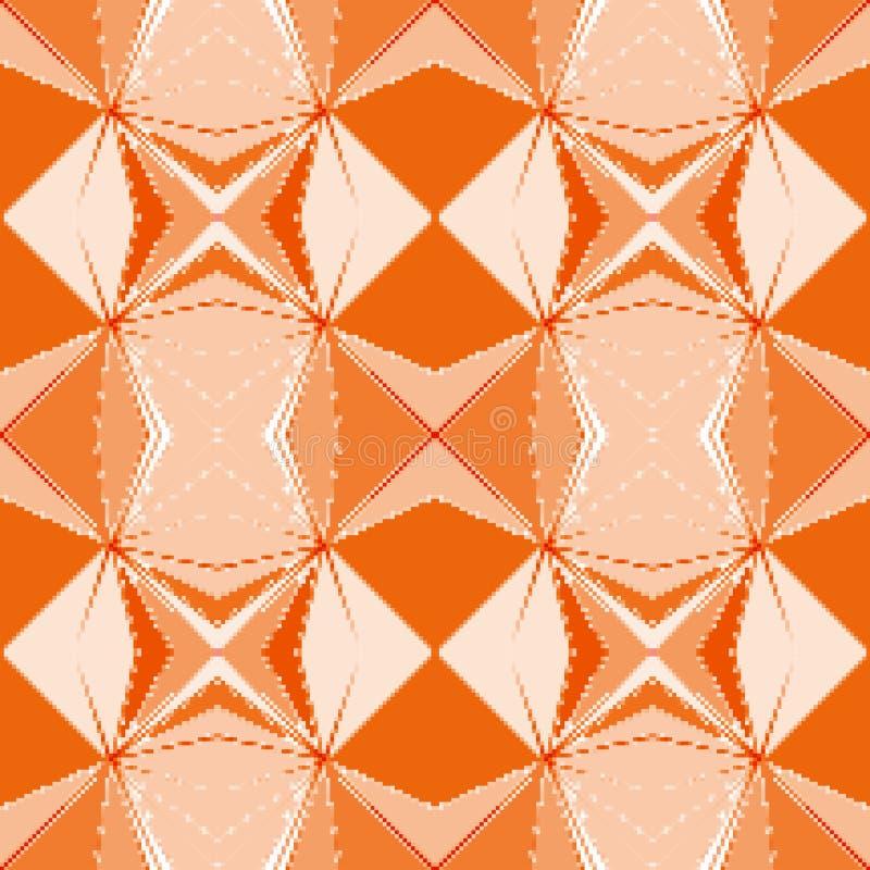 Nahtloses pixelated geometrisches orange Muster stockfotos