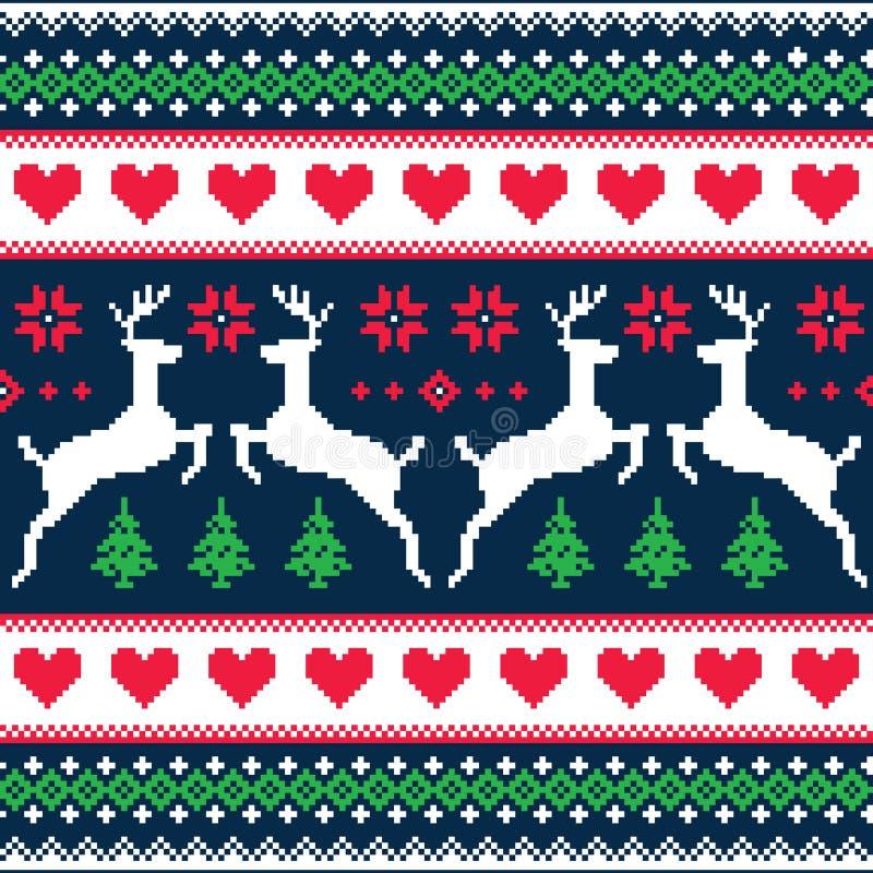 Nahtloses pixelated Muster des Winters, des Weihnachten mit Rotwild und Herzen vektor abbildung