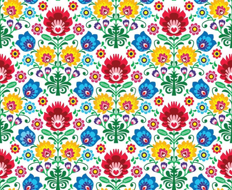 Nahtloses polnisches mit Blumenmuster - ethnischer Hintergrund lizenzfreie abbildung