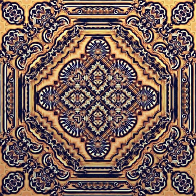 Nahtloses Rastermuster in psychedelischem Muster Mosaik der orientalischen Art für Tapete, Hintergründe, Dekor für Tapisserien lizenzfreies stockbild